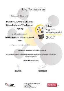 Państwowa Wyższa Szkoła Zawodowa im. Witelona w Legnicy nominowana do tytułu Polska Nagroda Innowacyjności !