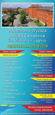 Państwowa Wyższa Szkoła Zawodowa im. Witelona w Legnicy zaprasza na studia. Rekrutacja od 4 czerwca 2018 r.