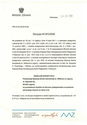 Pielęgniarstwo w PWSZ im. Witelona w Legnicy z akredytacją Ministra Zdrowia!