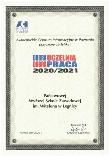 PWSZ im. Witelona w Legnicy z certyfikatem Dobra Uczelnia - Dobra Praca 2020/2021