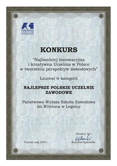 PWSZ im. Witelona w Legnicy Najlepszą Uczelnią Zawodową w Polsce
