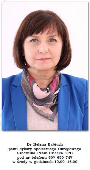Doktor Helena Babiuch Społecznym Okręgowym Rzecznikiem Praw Dziecka