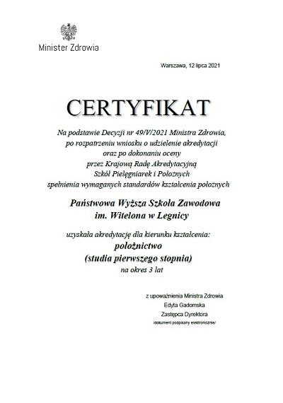 Akredytacja Ministra Zdrowia dla Położnictwa w PWSZ im. Witelona w Legnicy