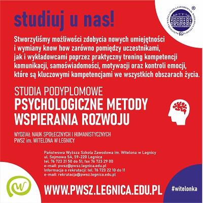 Nowy kierunek studiów podyplomowych - Psychologiczne metody wspierania rozwoju