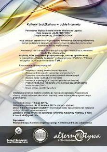 "II Ogólnopolska Konferencja Naukowa ""Kultura i (sub)kultury w dobie Internetu"""