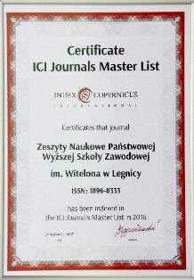 Zeszyty Naukowe PWSZ im. Witelona w Legnicy z certyfikatem Index Copernicus International !