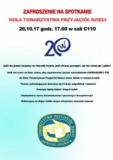 Zaproszenie na spotkanie Koła Towarzystwa Przyjaciół Dzieci