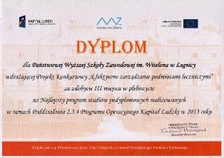Ministerstwo Zdrowia wyróżniło Państwową Wyzszą Szkołę Zawodową im. Witelona w Legnicy