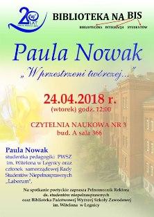 Spotkanie poetyckie z Paulą Nowak