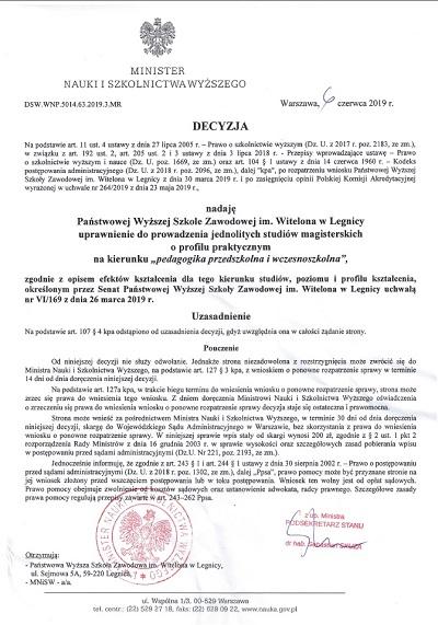 Pedagogika przedszkolna i wczesnoszkolna w PWSZ im. Witelona w Legnicy