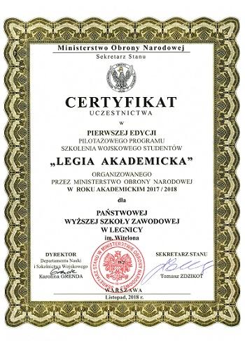 Uczelnia wysoko oceniona za udział w projekcie Legia Akademicka