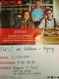 W PWSZ im. Witelona w Legnicy poszukują dawców szpiku !