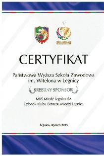 Srebny Sponsor dla PWSZ im. Witelona w Legnicy