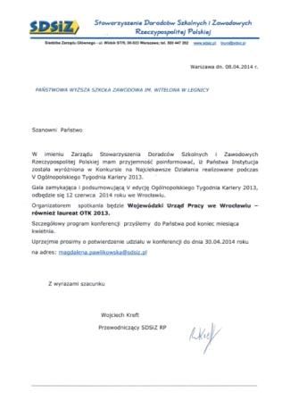 Nasza Uczelnia wyróżniona przez Stowarzyszenie Doradców Szkolnych i Zawodowych Rzeczypospolitej Polskiej