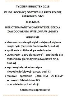"""Tydzień Bibliotek pod hasłem  """"(DO)WOLNOŚĆ CZYTANIA"""""""